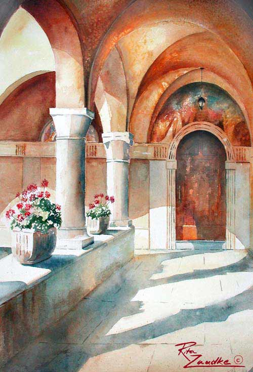 Frassino Monastery by Lake Garda - Watercolor of Peschiera, Italy