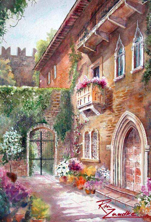 Juliet's Balcony - Watercolor of Verona, Italy