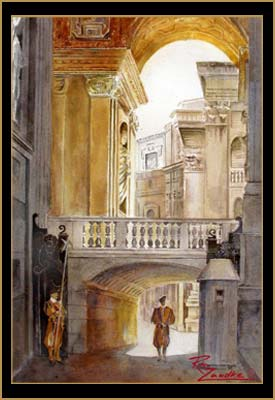 Vatican Guards - Watercolor of Rome, Italy